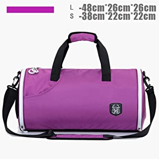 GY Cylinder Fitness Bag, Male Swimming Training Bag, Yoga Bag, Female Shoulder Bag, Big Shoes, Basketball Bag (Color : Purple)