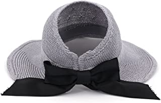 ZOO 大きなアクセントボウタイ付き女性用ヴィンテージ折りたたみ式帽子 (色 : グレー)