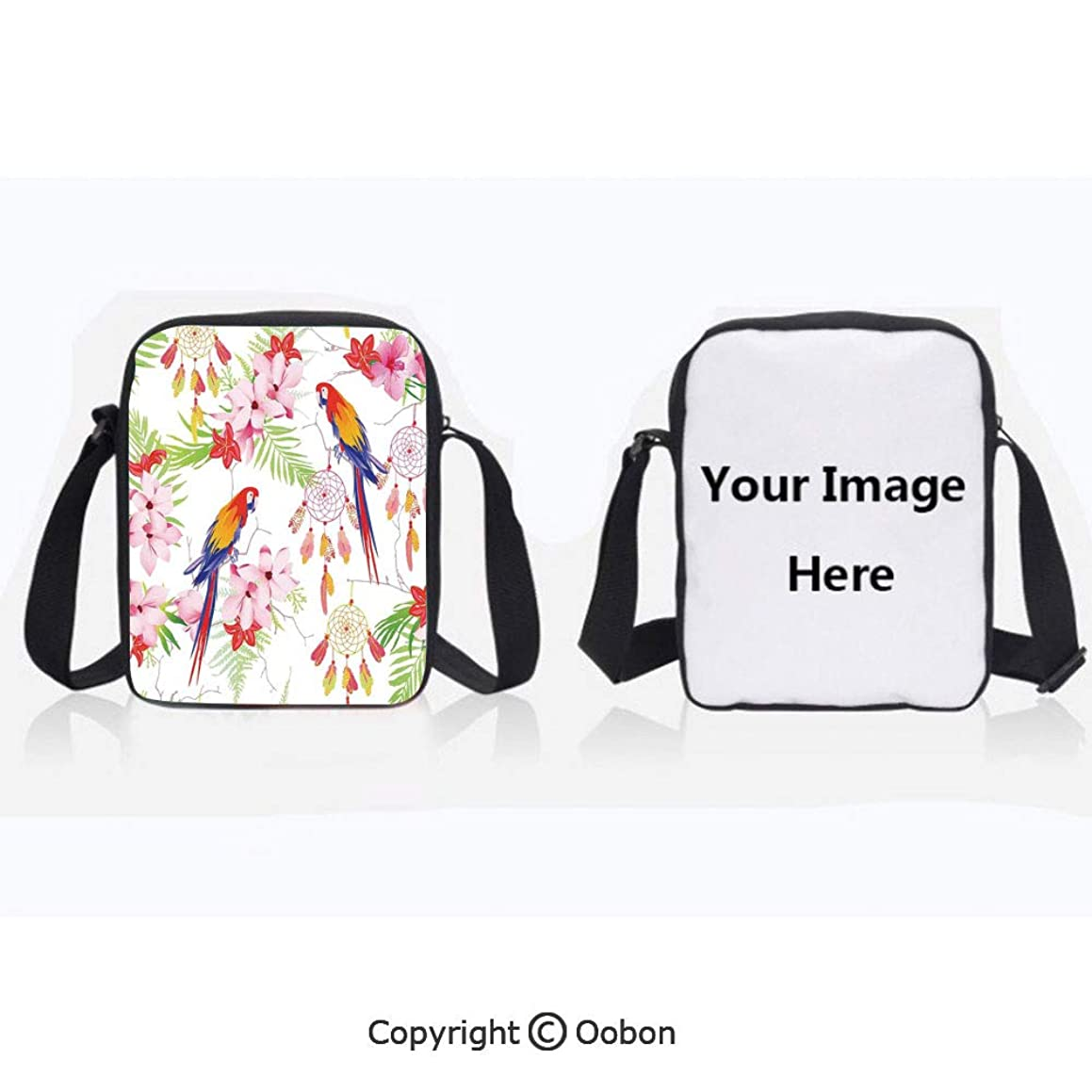Polyester Anti-Theft Cross-Body Bag Unisex Adult Forest with Parrots and Native Ethnic Dreamcatchers Spiritual Symbols Folk Artwork Multicolor Zipper Bucket Anti Theft Bag For Journey