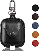 Airpod Case with Keychain,MicYou Premium Leather Shockproof Protective Cover for Apple AirPods Charging Case (Black)