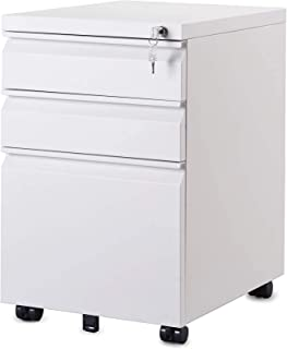 XHMCDZ Drawer Organizers Office Lateral File Cabinets Office Cabinets, Racks & Shelves with Lock and Handles, 3 Drawer Ste...