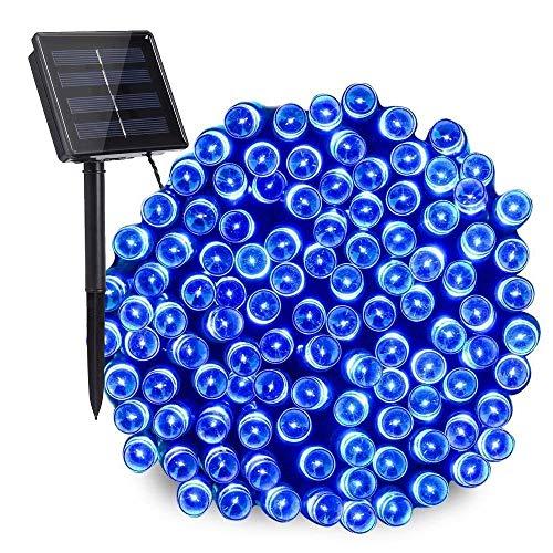 NEXVIN Solar Lichterkette Außen, 20M 200 LED Solar Lichterkette Aussen Wasserdichte, 8 Modi Solar Außenlichterkette Deko für Garten, Terrasse, Balkon, Hochzeit (Blau)