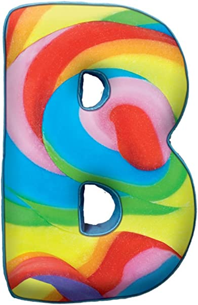 Iscream Lettermania B Initial 16 Swirl Candy Print Fleece Back Microbead Pillow