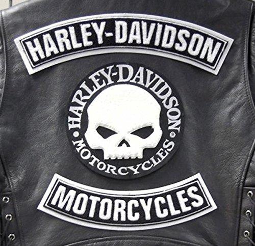 GZM Skull Willie G. Harley Davidson Lot de 3 Rustines Patches patchs pour gilet ou veste, Taille L