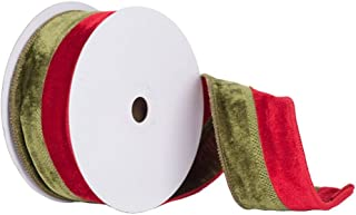 Vickerman Q150322 Double Sided Front & Back Velvet Ribbon with Wired Edge, 2.5