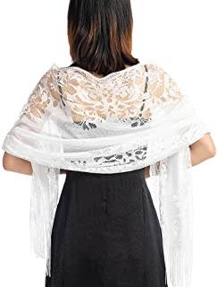 Ladiery Women's Floral Lace Scarf Shawl with Tassels, Soft Mesh Fringe Wraps for Wedding Evening Party Dresses