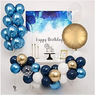 DKX バルーン、メタルブルーバルーンウェーブボールセット、人格の誕生日パーティー会社のイベント会場レイアウトの装飾 装飾は、贈り物 (Color : Blue)