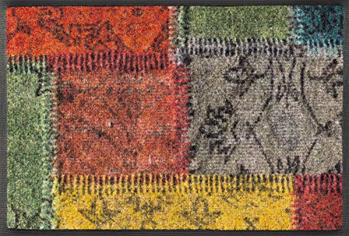 Wash + Dry Vintage Patches Fußmatte, Acryl, bunt, 40 x 60 x 0.7 cm