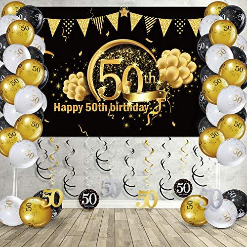 Kit de Decoración de Fiesta de Feliz 50 Cumpleaños, Remolinos Colgantes Globo Bandera de Telón de Fondo de Feliz Cumpleaños 50 Oro Negro Brillante para Hombres Mujeres 50 Cumpleaños Fiesta 50 Años