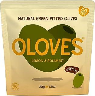 OLOVES Marinated Green Pitted Olives | 30 Pack | Lemon & Rosemary | Vegan, Kosher,..