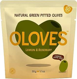 Oloves Lemon & Rosemary | Fresh Green Pitted Olives | All Natural | Healthy Snack | Vegan | Gluten Free | Kosher | Low Cal | 30 Pack (1.1oz Bags)