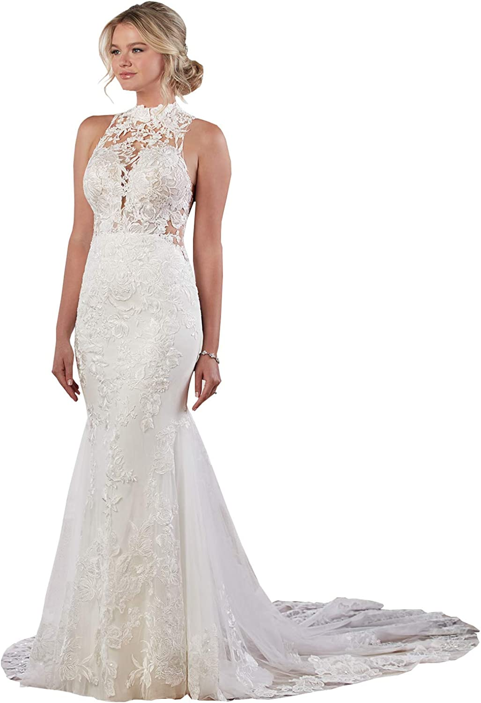 Women's Halter Lace Bodice Mermaid Wedding Dress Long Open Back Sweep Train Bridal Gown
