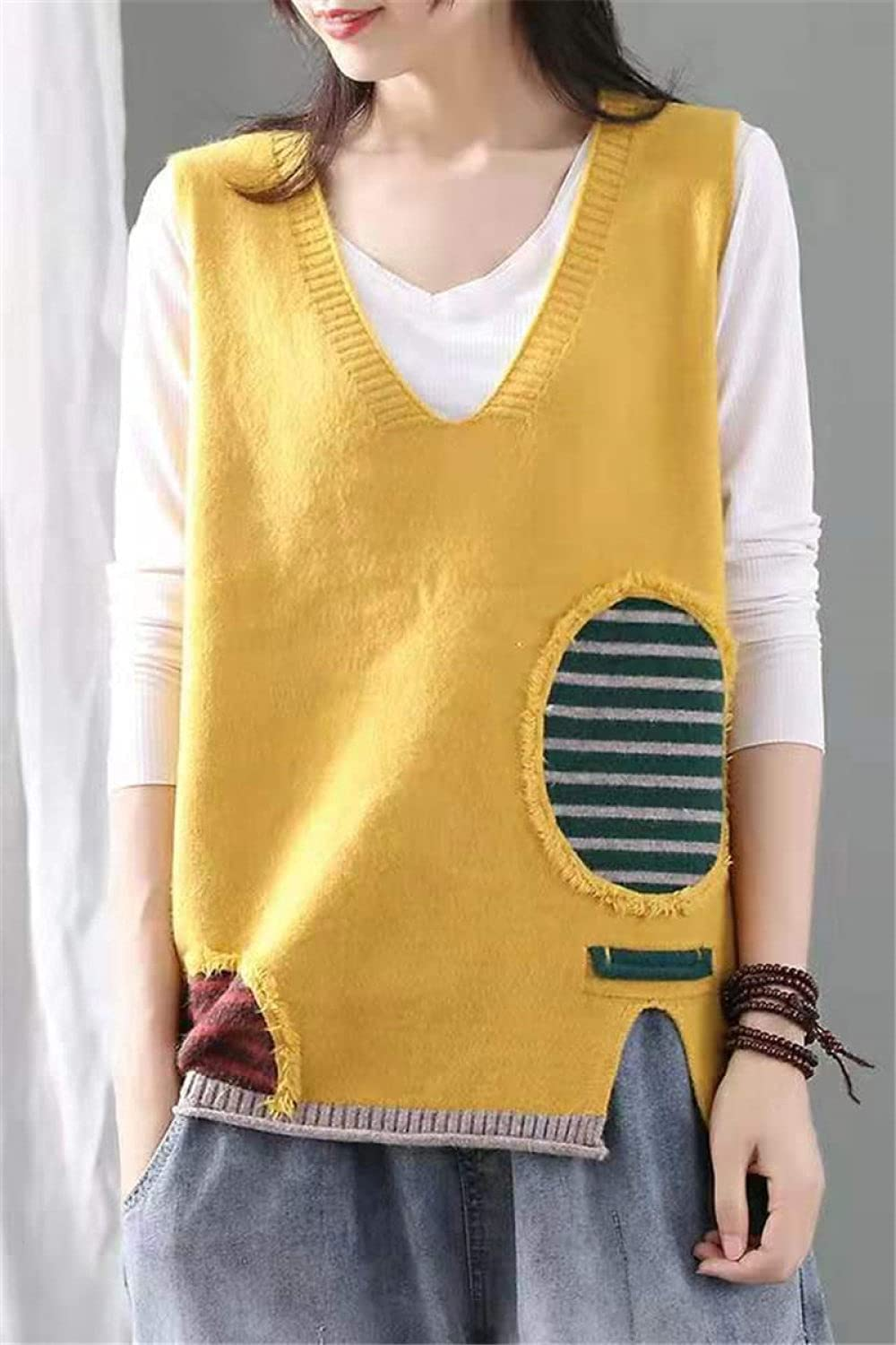 Sweater Vest,Womens Knitted Sweater Vest Soft Vintage Patch Striped Sleeveless Sweater Tank Top V Neck Casual Loose Preppy Style Autumn Winter Girls Sleeveless Jumpers ,Yellow