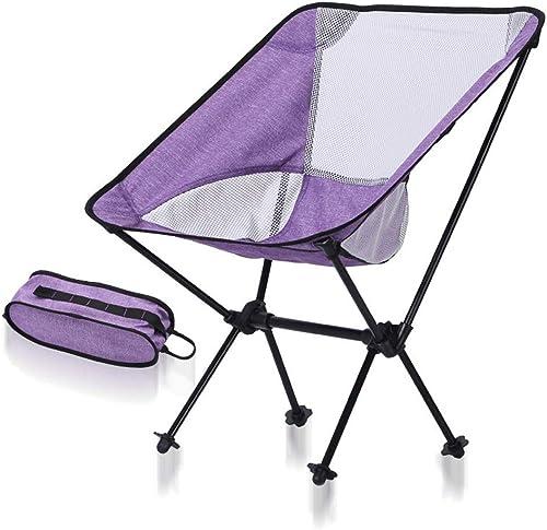 Tmendy Chaises pliantes portatives ultra-légères extérieures avec sac de transport 150kg de camping, chaises pliantes, chaises de plage (Couleur   violet A)