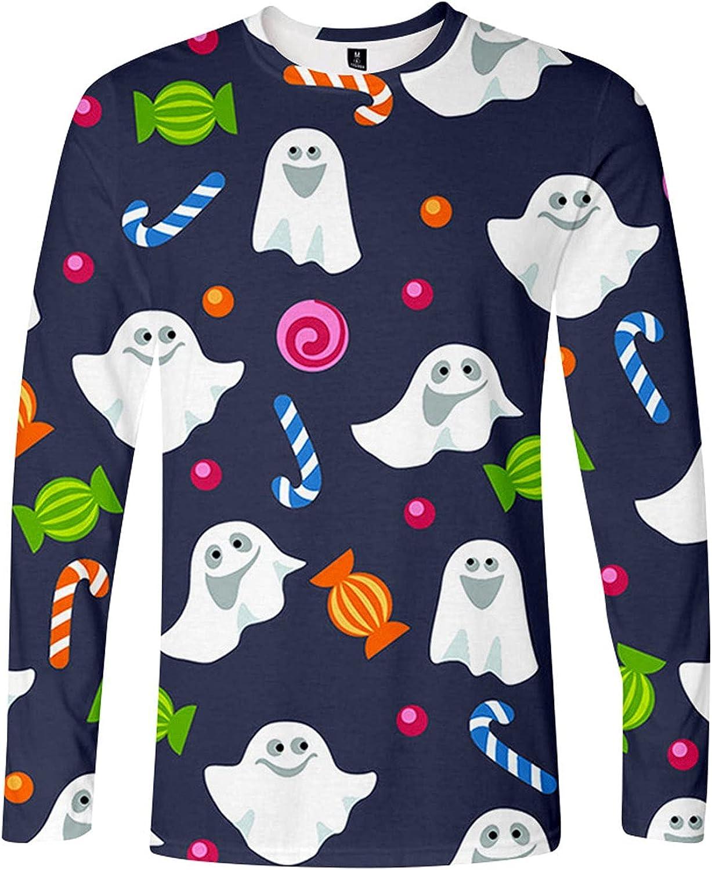 Men Pullover Blouse Halloween 3D Printed Pumpkin Casual Ghoust Horror Long Sleeve Blouse,Graffiti Graphic Blouse