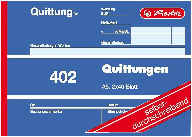 Herlitz 7876147 Quittungsblock A6 402 2x40 2x40 2x40 Blatt, selbstdurchschreibend (50er Pack) B076Z1Q1Q7   Modernes Design  921451