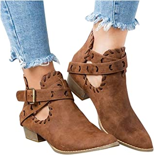 Clearance Swiusd Womens Cork Midi Heel Booties Retro Leather Pointed Toe Ankle Strap Buckle Single Shoes Cutout Dress Shoes