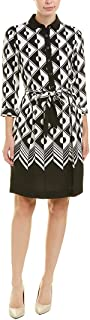 Anne Klein womens COLLARED FIT AND FLARE DRESS WITH SASH Dress