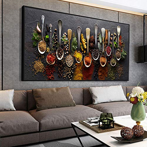 Jin Yi Global Wall Art Pictures Grains Spices Spoon Peppers Canvas Painting Kitchen Decoration Prints for Dining Room Home Decor 55x110cm Unframed