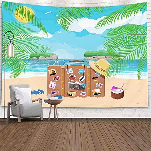 Tapiz para colgar en la pared, tapiz para dormitorio, decoración de la habitación, al aire libre, vintage, antiguo, maleta de viaje, cuero de playa, bolso retro, tapiz de invierno, manta de playa, tap