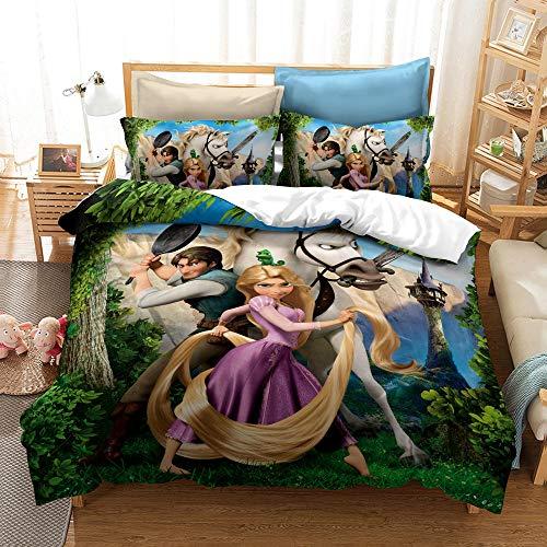 Amacigana Juego de ropa de cama Snow White Anime 3D, 1 funda nórdica + 2 fundas de almohada de microfibra para niñas (A8,155 x 220 + 80 x 80 cm)