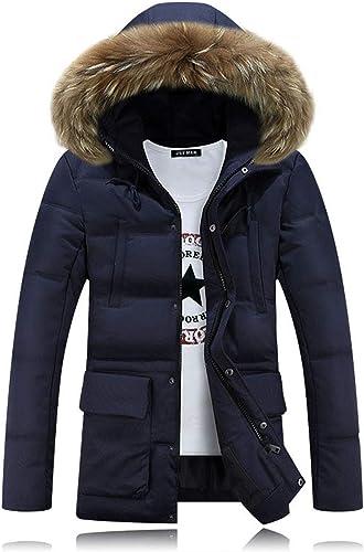 LIHUA Manteaux pour Hommes de la Mode des Hommes à Capuche Hiver Chaud Polaire Zipper Pull Veste Solide Coton Outwear Manteau (Couleur   Bleu, Taille   XXXXL)