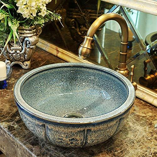 Jgophu Chinesische Garderobe Aufsatzwaschbecken aus Porzellan Waschbecken aus Keramik handbemalte Waschbecken