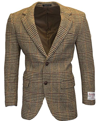 Walker & Hawkes - Herren Country-Blazer - Klassisch Schottische Jacke aus Harris-Tweed - Overcheck-Tartanmuster - Sandbraun - XL
