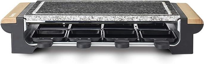 H.Koenig Pierre à cuire 2 en 1 avec Appareil à raclette 8 personnes RP328 design en bois, Grill Multifonction Pierre grani...