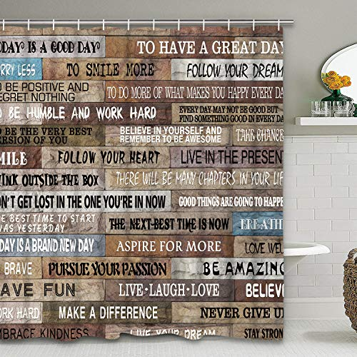 Motivational Quotes Shower Curtain with 12 Hooks, Rustic Shower Curtain Vintage Bookshelf Shower Curtain Waterproof Bathroom Curtains