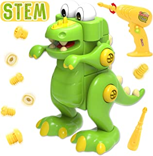 REMOKING Take Apart Dinosaur Toy,30 Pieces Assembly Dinosaur Toy with Electric Drill,Gifts for Kids