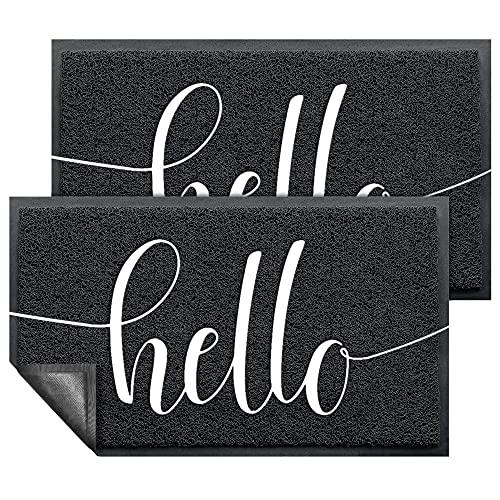 """Door Mat (30""""x17.5"""",Black, 2 Pack), AHQ Durable Welcome Mat Low Profile Floor Mat Front Doormat Indoor Outdoor Doormat Non Slip Rugs for Entryway (2 Pack)"""