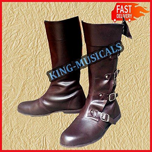 NASIR ALI - Botas Medievales de Piel, Calzado de reincorporación para Vikingo, Zapatos Largos, Color marrón