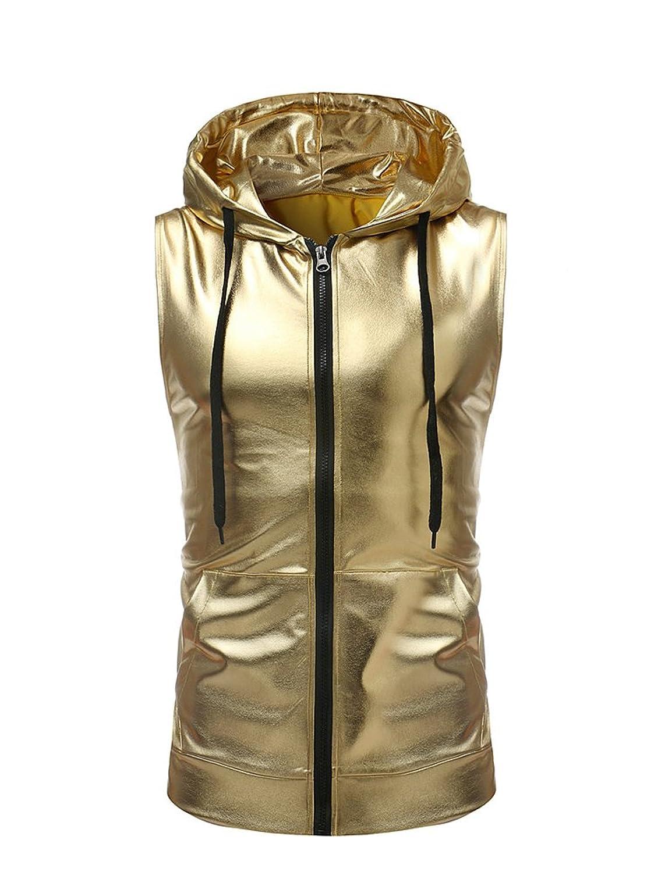 Idopy ファッション メンズ ナイトクラブ ノースリーブ ジャケット