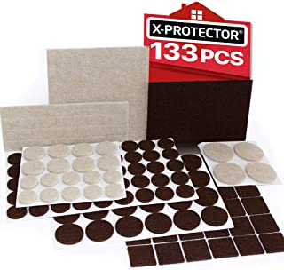 X-PROTECTOR Premium Two Colors Pack Furniture Pads 133 Piece! Felt Pads Furniture Feet Brown 106 + Beige 27 Various Sizes – Best Wood Floor Protectors. Protect Your Hardwood & Laminate Flooring