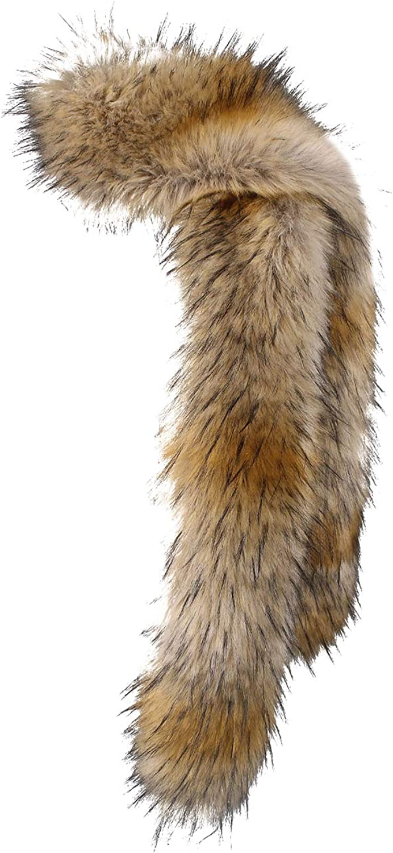 NAFLEAP Women Winter Warm Faux Fox Fur Scarf Collar Long Wrap Scarf Stole Shawl Shrug (Light Fox, Onesize)