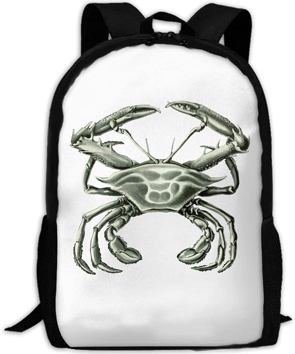Adult Backpack Cyan Crab College Daypack Oxford Bag Unisex Business Travel Sports Bag with Adjustable Strap