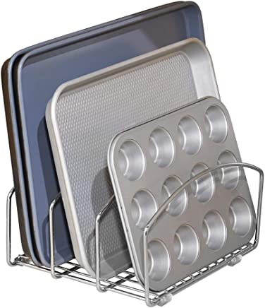 mDesign Kitchen Bakeware Organiser - Steel Baking Tray Rack and Cutting Board Holder - Ideal Kitchen Storage Solution - Chrome Finish