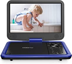 """COOAU 12.5"""" Portable DVD Player with HD Swivel Screen, 5 Hours Built-in Rechargeable Battery, Region Free, Support USB/SD Card, 3.5mm Audio Jack, Remote Control, Resume Playback, Blue"""