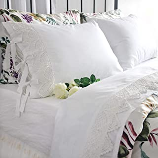 Queen's House Vintage Crochet Lace Bed Sheet Sets White Deep Pockets Set Queen
