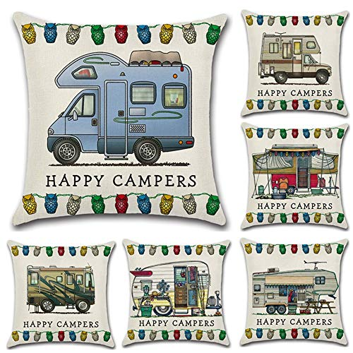 BYEON Kussensloop Cartoon camper eetwagen Decoratief Katoen Linnen Vierkant Kussenslopen voor Slaapbank 18 x 18 Inch, met Onzichtbare Rits 45cm x 45cm, Set van 6
