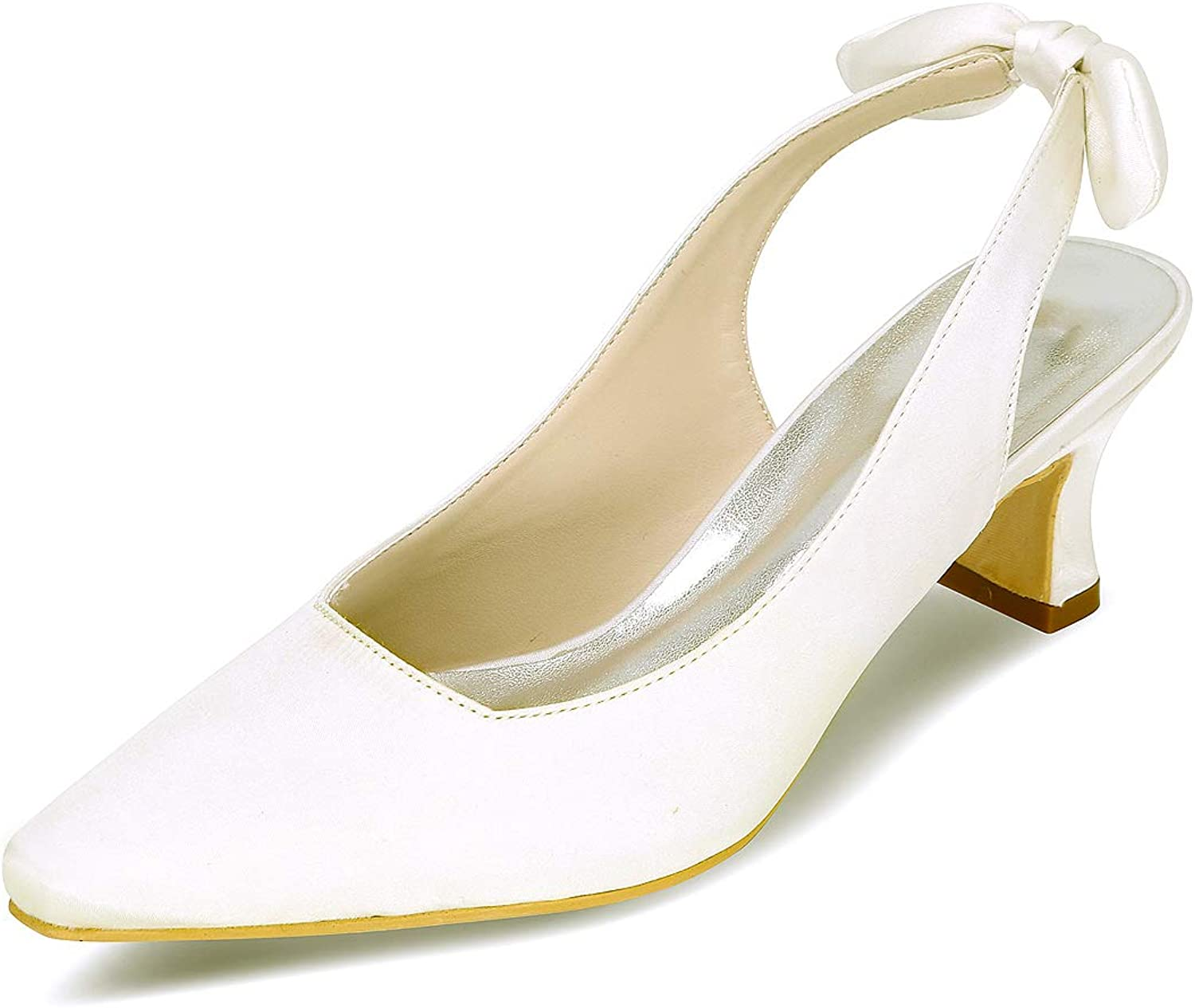 Fanciest Women's Pointed Pumps Heels Sandals Bow Wedding Bridal shoes White 0723-11F