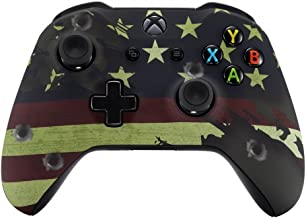 eXtremeRate Soft Touch Patterned Faceplate Cover, Front Housing Shell Case Comfortable Replacement Kit for Microsoft Xbox One X & One S Controller (US Flag The Stars & Stripes)