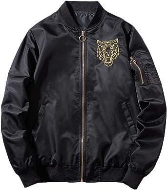 Men's Windbreakers Bomber Jacket, Tiger Print Windproof Jacket Outdoor Windbreakers Full-Zip Coat with Pockets