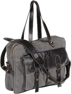 vidaXL vidaXL Handtasche Schultertasche Umhängetasche Ledertasche Laptoptasche Einkaufstasche Tragetasche Tasche Dunkelgrau 40x53cm Segeltuch Echtleder