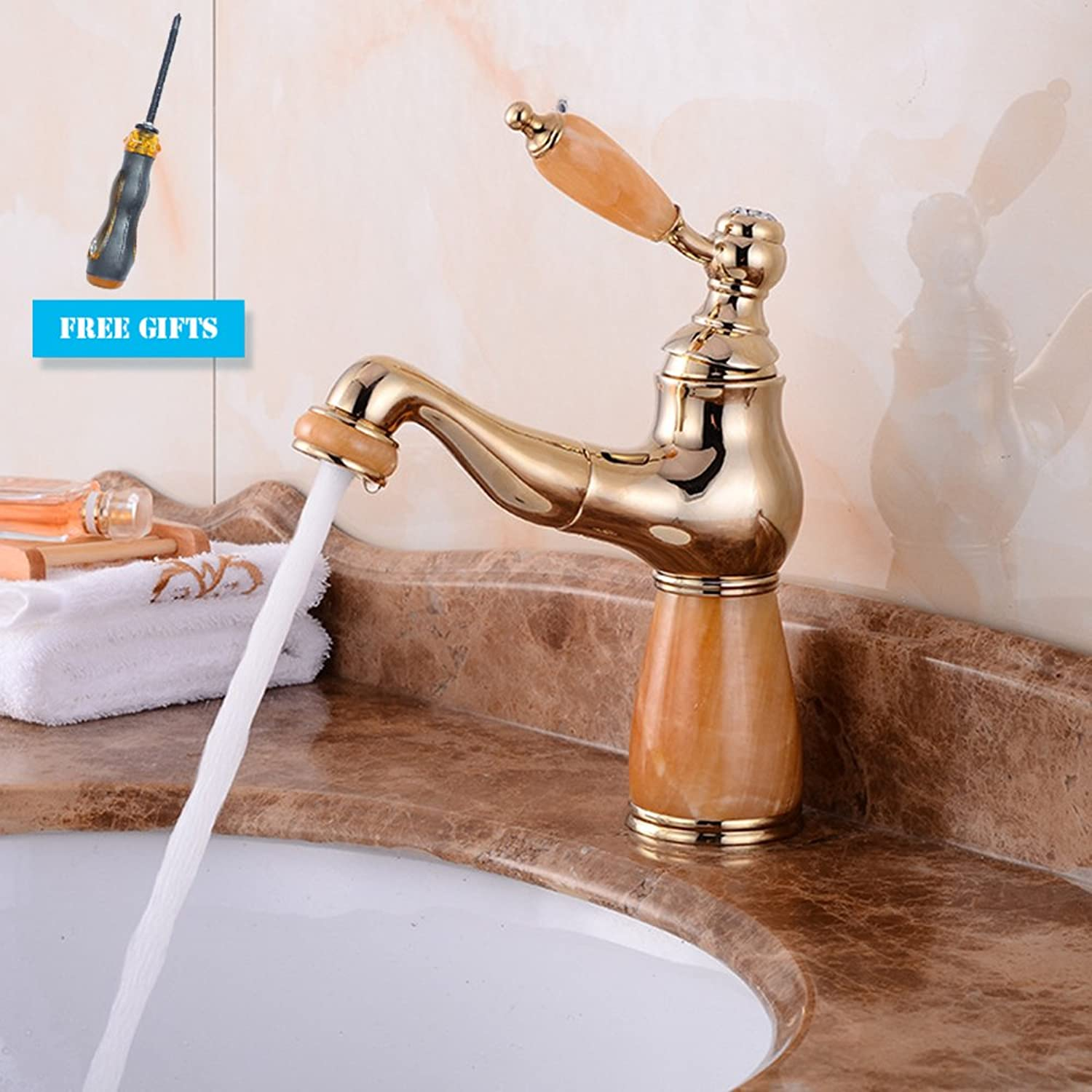 GAOLI Brass gold Basin Natural Jade Faucet Hot And Cold Water Telescopic Pull-Out Faucet, Mixing Faucet, In-Wall Shower Faucet, Basin Faucet, Bathroom Sink Faucet