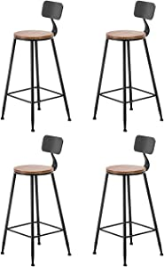 BARSTOOLRI Bar Stool Set of 4, Iron Art Non-Slip Ergonomic Sturdy Durable Fashion Kitchen High Chair with Backrest