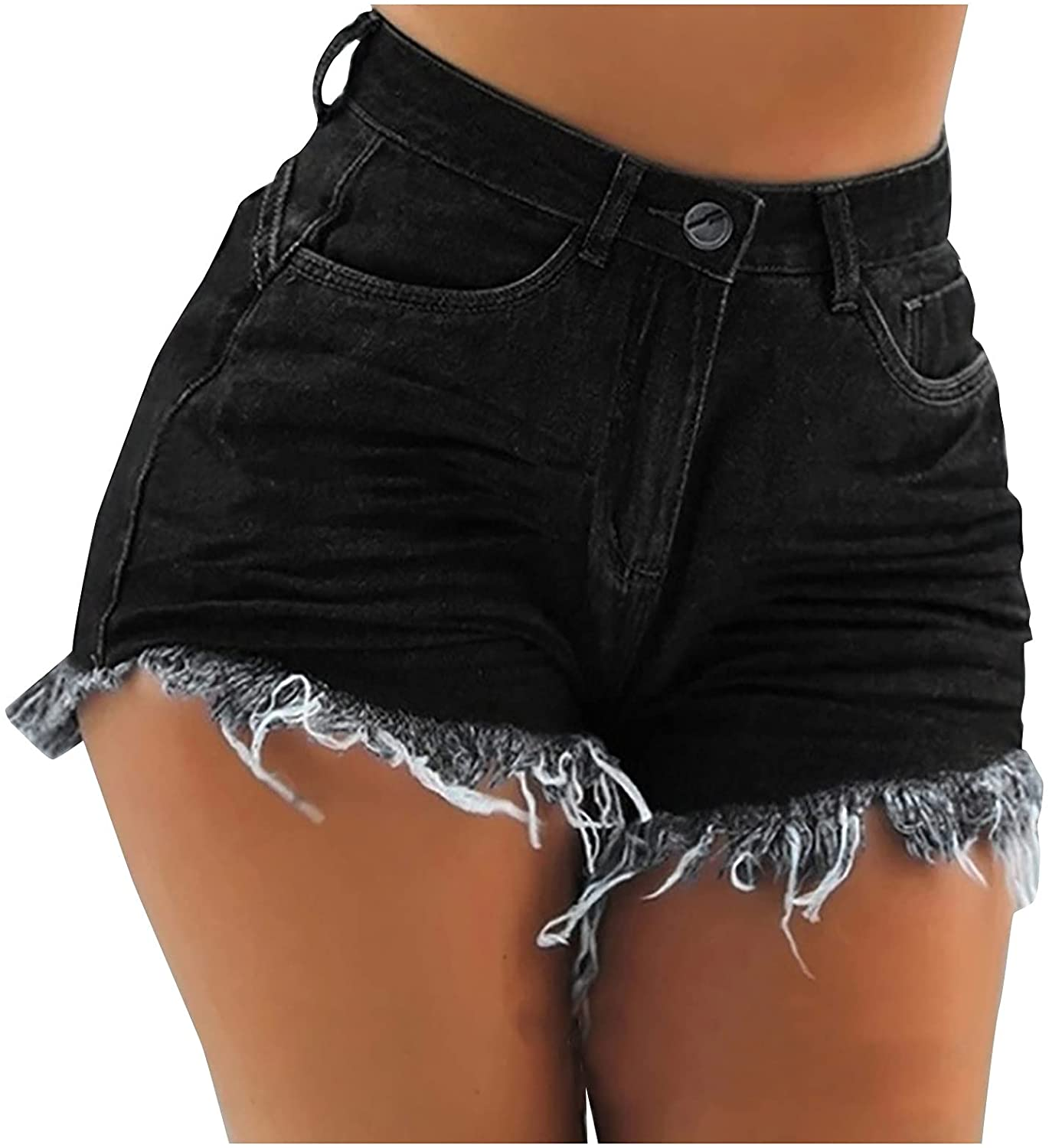 Euone_Clothes Jeans Pant for Women, Women's Casual Fashion High Waist Skinny Sexy Tassel Hole Denim Shorts