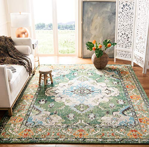 Safavieh Monaco Collection MNC243F Boho Chic Medallion Distressed Non-Shedding Stain Resistant Living Room Bedroom Area Rug, 8' x 10', Forest Green / Light Blue