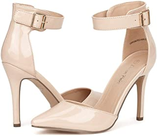 Oppointed-Ankle Women's Pointed Toe Ankle Strap D'Orsay High Heel Stiletto Pumps Shoes.